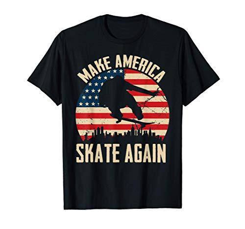 Make America Skate Again American Flag Ollie Skateboard Camiseta