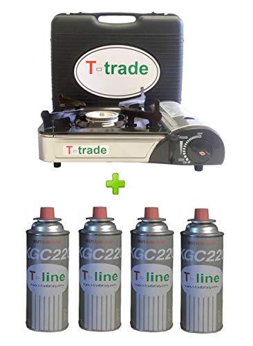FORNELLO DA TAVOLO BISTRO CON DOPPIA CONNESSIONE + 4 CARTUCCE A GAS INCLUSE - POTENZA 2.300 W...