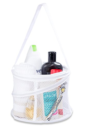 Bathroom Personal Organizer - 8' X 6' - Three Large Compartments to Organize Your Bathroom Accessories. The Shower Caddy Features a Drainage Hole and Carry Handle for Easy Transport. (White)