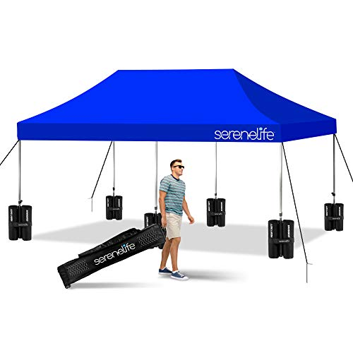 Pop Up Canopy Tent 10x20 - Commercial Instant Shelter Foldable/Collapsible Sun Shade Canopy Pop Up Tent w/Waterproof Tent Top, Portable Carry Bag & Sand Bag - SereneLife SLGZ20BU (Navy Blue)