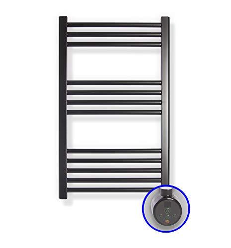 Radiador Toallero Eléctrico Zeta E * Toalleros Eléctricos (Medidas 770 x 500 mm) con Control TH02 * Secatoallas En Color Negro Mate Ral 9005 * 2 AÑOS de Garantía