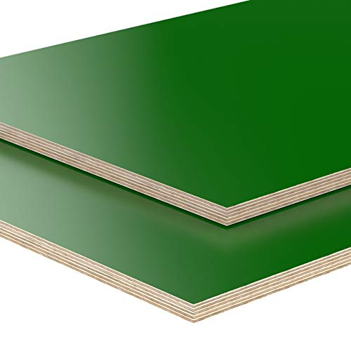 AUPROTEC Tischplatte 18mm grün 1500 mm x 900 mm rechteckige Multiplexplatte melaminbeschichtet von 40cm-200cm auswählbar Birken-Sperrholzplatten Massiv Holz Industriequalität Auswahl: 150x90 cm