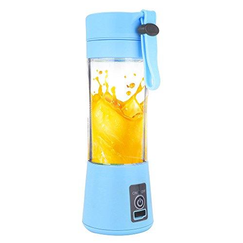 Kariwell Juice Cup, Personal Glass Smoothie Blender 380ml USB Electric Fruit Juicer Handheld Smoothie Maker Juice Cup (Blue)