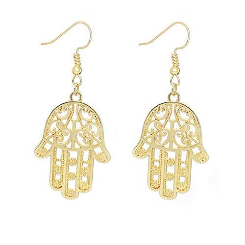 Oro oro color hueco Hamsa Fatima mano gota pendientes para las mujeres colgante pendiente joyería de la suerte