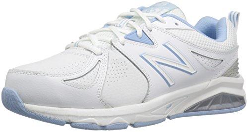 New Balance Women's 857 Cross Training Shoes, White/Blue, 6.5 US (Wide)