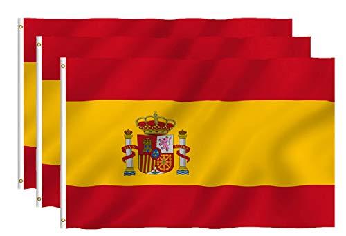 Hollylife Paquete de 3 Banderas Grandes de España, 150 x 90 cm, Anti UV y Viento, con 2 Ollados Laterales Izquieras, para Asta de Bandera Festivales Procesión Jardín Exterior