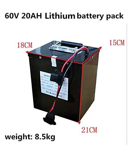 SHUNBIN 2000W 60V 20AH 30AH 50AH Elektro Bike Batterie Scooter Boot Dreirad Gabelstapler 72Volt Lithium Ionen Akku mit BMS (60V 20Ah with Quick Charger (18cm×15cm×21cm))