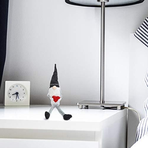 banapo Muñeca de decoración, Regalo de decoración de muñecas Decoración de muñecas caseras Patrón de corazón Rojo para Escritorio de habitación para estantería(Rudolph with Long Legs and Black Heart)