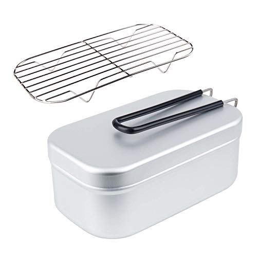 HollyTree アルミ製飯盒 メスティン バットアミ付き クッカー アウトドア用二点セット キャンプ用 収納ボックス お弁当箱 食器 炊飯 蒸し 燻製 デイキャン用 二重研磨 傷つけ防止