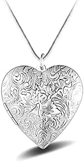 Heart Photo Locket Necklace, Silver Plated