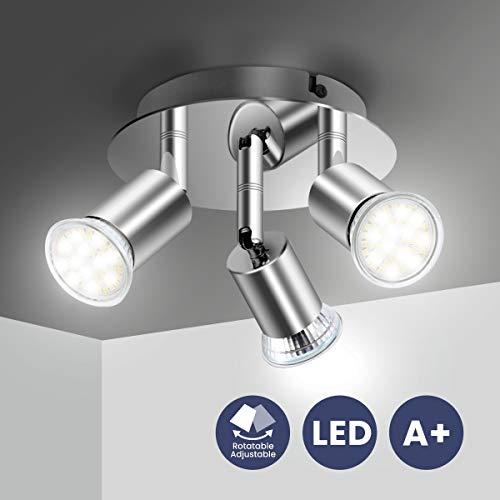 Elfeland Lámpara de Techo Foco, Plafón con 3 Focos GU10