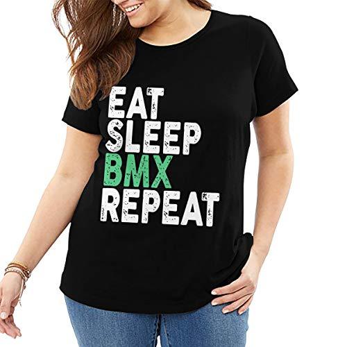 John J Littlejohn Eat Sleep Bmx Repeat Mujer Camiseta Algodn Tops Casual Camisa Calle Wear Plus Size T-Shirt