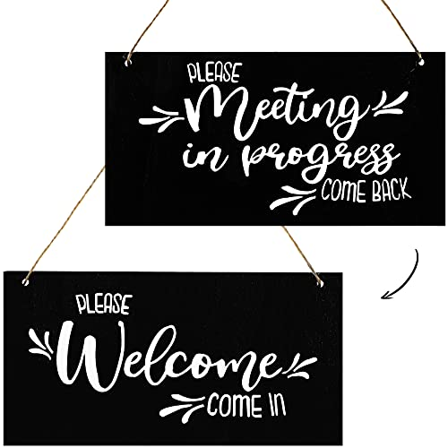 Meeting in Progress Wood Hanging Door Sign Reversible Do Not Disturb Wood Sign Home Office Door Hanger Double Sided Printed Sign Wooden Hanging Plaque Sign Wall Art for Home Office Commercial Use