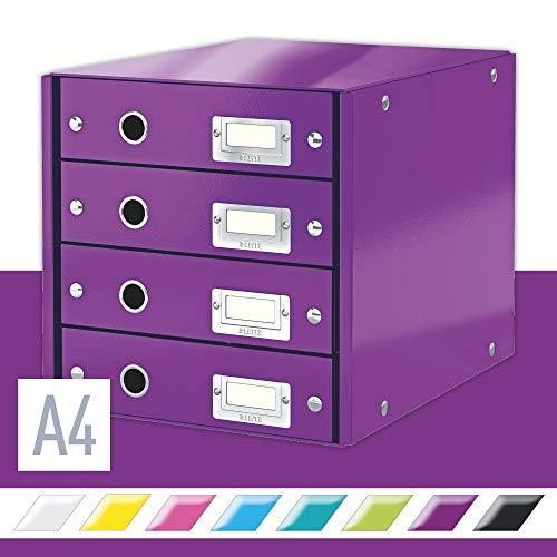 Leitz, Schubladenbox, Lila, 4 Schubladen, A4, Click & Store, 60490062