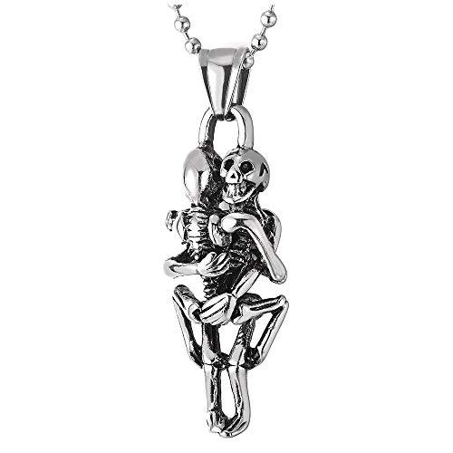 iMETACLII Vintage Abrazando Cr├Аneo Esqueleto ├│seo Colgante, Calavera, Collar de Hombre Mujer, Acero, Bola Cadena 60CM