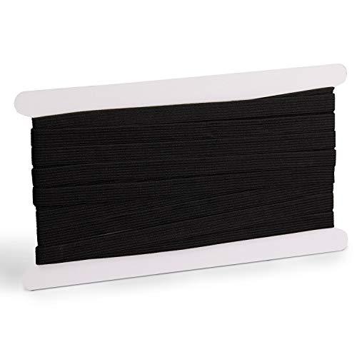 ZADAWERK® Cinta elástica - 1 cm x 10 m - negro - goma para coser - reparar - extender - artesanía - trabajos manuales