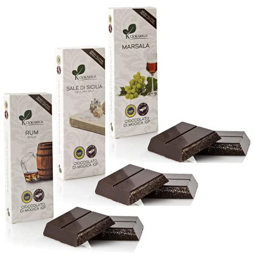Ciokarrua | Cioccolato di Modica IGP Rum, Sale di Sicilia, Marsala Senza Glutine | Cioccolato Grezzo Lavorato Modica | Tavoletta Cioccolato Senza Lattosio | Cioccolata 3 Tavolette - 300 Grammi