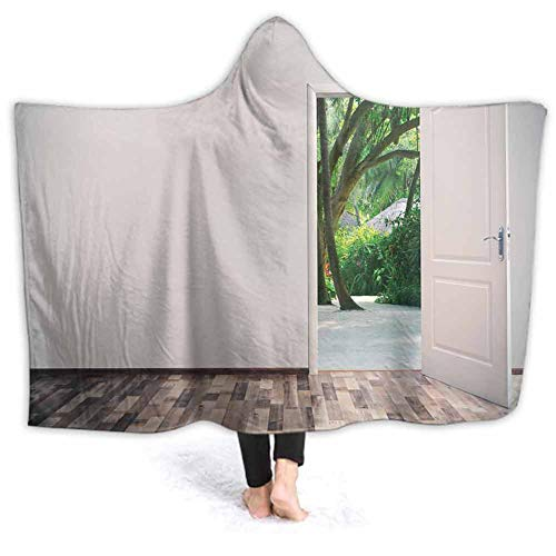 prunushome Hooded Blanket Open Door Lea to Tropical Garden Soft Wearable Blanket Hooded Throw Poncho, 60W by 40H Inches
