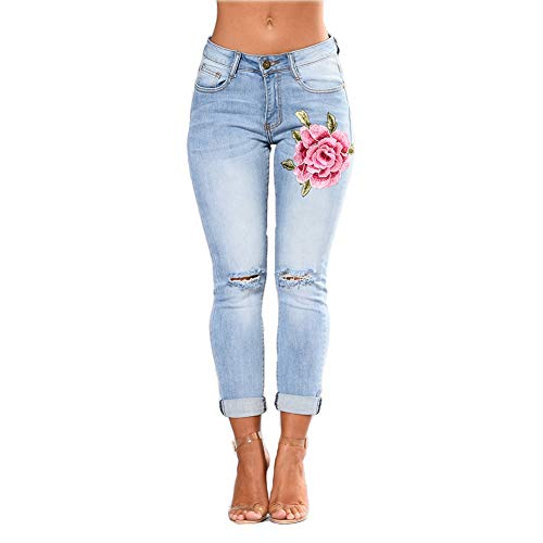 Wyhweilong - Pantalones vaqueros para mujer (cintura alta, tallas S-3XL). Azul Celeste XL
