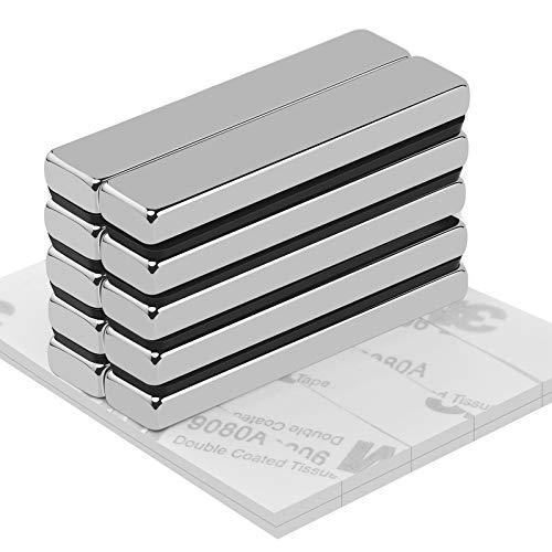 Neodym Magnete Wukong, 10 Stücke super starker Magnet 50 x 10 x 5MM Neodym Viereckig Ziegel Magnete, Seltenerdmagnete sehr starker Haftung für Glas-Magnetboards, Pinnwand, Magnettafeln, Whiteboard
