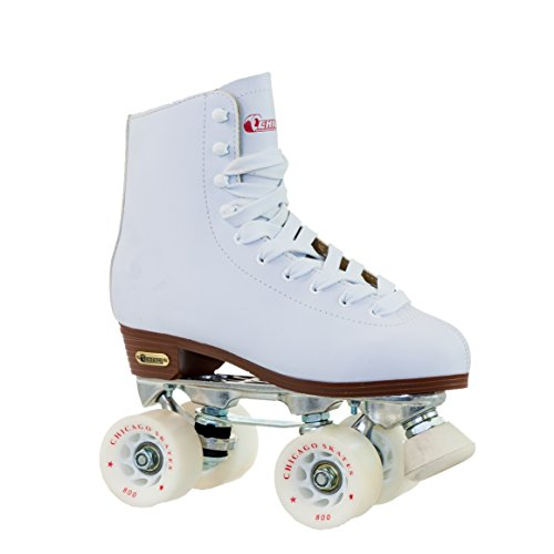 Chicago Women's Premium Leather Lined Rink Roller Skate - Classic White Quad Skates - 8