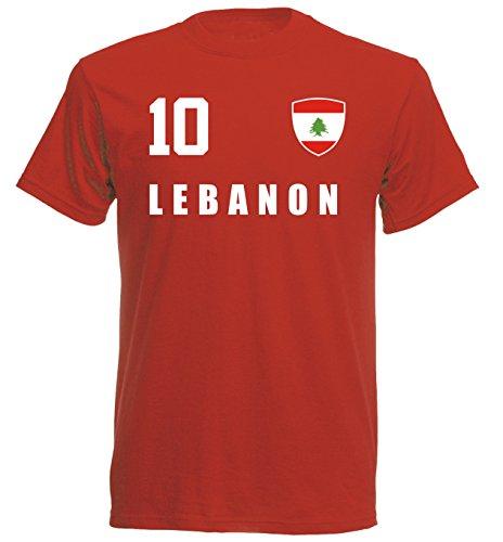 Libanon WM 2018 T-Shirt Trikot Look - rot ALL-10 - S M L XL XXL (M)