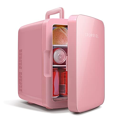 CROWNFUL Mini Fridge, 10 Liter/12 Can Portable Cooler and Warmer Personal Fridge for Skin Care, Food, Medications, Great for Bedroom, Office, Dorm, Car, ETL Listed (Pink)