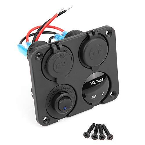 KIMISS 4 Gang ON/OFF panneau de commutateur à bascule Dual USB chargeur allume-cigare Socket Voltmeter(Bleu LED)