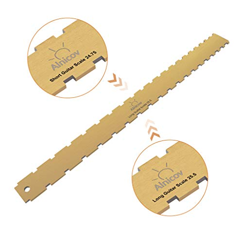 Alnicov Guitar Neck Notched Straight Edge Luthiers Tool Zinc Alloy Plated Bronze for Gibson Fender and Most of Guitar Fretboard and Frets 24.75inch & 25.5inch