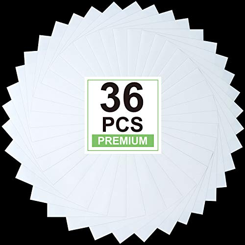 """White Heat Transfer Vinyl for T- Shirts- 36 Sheets, 12""""x10"""" HTV Iron On Vinyl for Various Cutting Machines"""