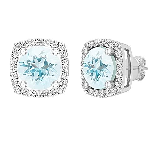 Dazzlingrock Collection Pendientes redondos de 8 mm de aguamarina y diamantes blancos para mujer, estilo halo de diamantes, oro blanco de 18 quilates