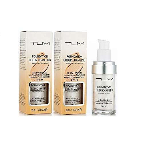 2 PACK TLM Flawless Colour Changing Foundation Makeup Base Warm Skin Tone Nude Face Moisturizing Liquid Cover Concealer Long-Lasting-30ml