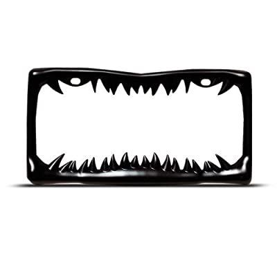 Shark Tooth License Plate Frame (Black Painted Metal)