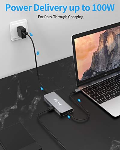 USB C Hub, Abask 8-in-1 USB C Adapter mit 4K HDMI, Gigabit Ethernet Anschluss, 3 USB 3.0 Ports, SD/TF Kartenslots, 100W PD Ladeanschluss, USB-C Hub für MacBook Pro Air, Dell XPS und mehr Type C Geräte