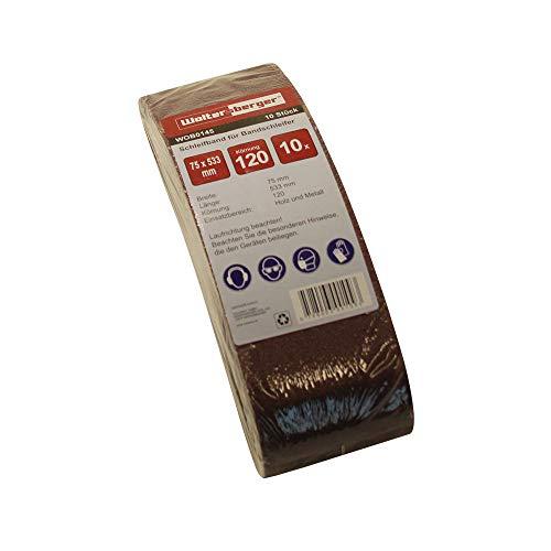 Woltersberger® 10 Stück Gewebe-Schleifbänder | Größe 75x533 mm | Körnung P-220 | Nahtlose Verbindung Premium Schleifband Bandschleifpapier