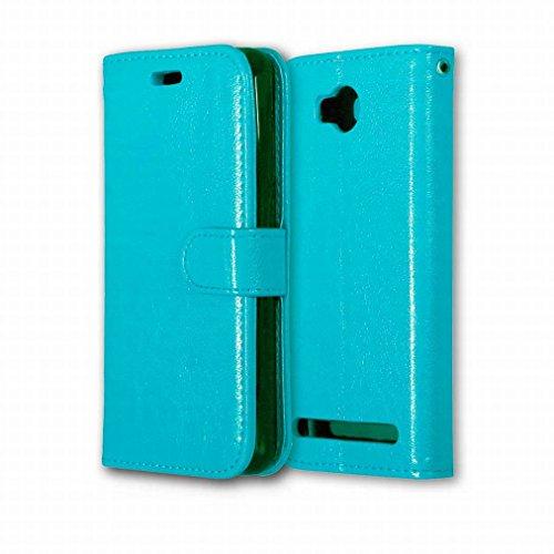 Ougger voor Huawei Y3II / Huawei Y3 2 hoesje, unieke 3 kaartsleuven lederen portemonnee Shell Ture Holster met standaard Flip magnetische riem Bumper bescherming pure kleur, Blauw