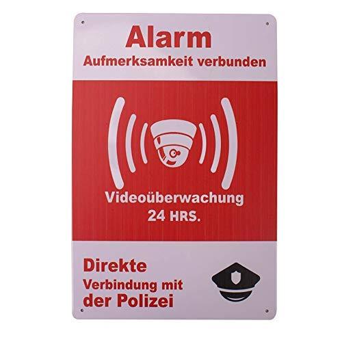 MARQUISE & LOREAN Dekorative Metallplatte und Poster | Überwachungsschild zur Abschreckung der Videoüberwachung deutsche Hausalarmanlage