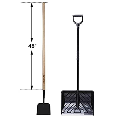 KYLIN Garden Tools Set - Include 18'' PP Grain/Leaves Pusher with D-Grip Handle, 12-Gauge 7''× 6'' Steel Plate Forged Sidewalk & Ice Scraper with 48''Ash Wood Handle