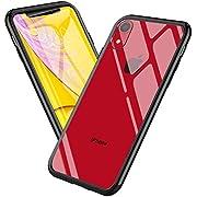 Mediom Kompatibel mit iPhone XR Hülle Hochwertigem Gehärtetes Glas Back mit Schwarz TPU Rahmen Schutzhülle Durchsichtige Handyhülle Case - 6,1 Zoll