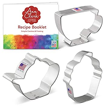 Ann Clark Cookie Cutters 3-Piece Tea Party Cookie Cutter Set with Recipe Booklet Teapot Teacup Cupcake
