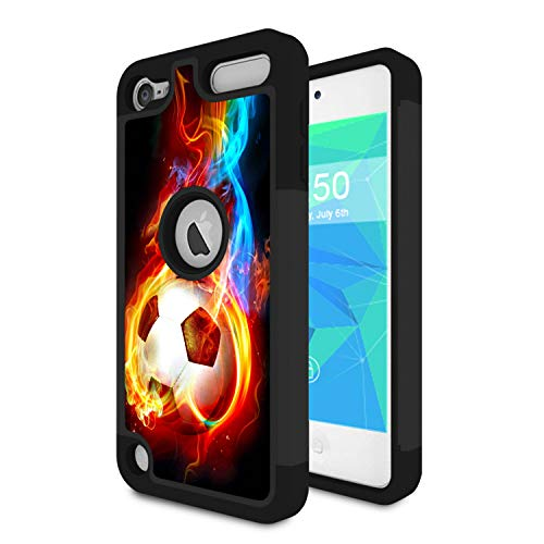 iPod Touch 7 Case, iPod Touch 6 Case, Spsun Dual Layer Hybrid Hard Protector Cover Anti-Drop TPU Bumper for Apple iPod Touch 5/6/7th Generation,Soccer Balls