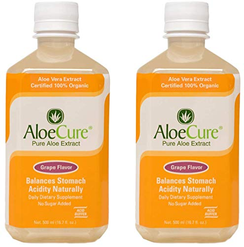 AloeCure Pure Aloe Vera Juice for Bouts of Acid Reflux, Heartburn, and IBS Grape, 2 Bottles 500ml