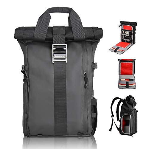 Besnfoto DSLR Camera Backpack Rolltop Laptop Compartment Quick Side Access Waterproof Large Camera Bag Professional for Hiking Traveling Women and Men Large