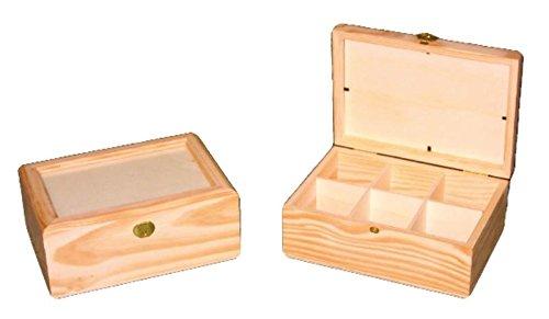 Caja té cristal. En madera de pino en crudo, para pintar. Tapa de cristal. Interior con divisiones ideal para bolsitas de té. Medidas exteriores (ancho/fondo/alto): 22 * 16 * 9 cm.: Amazon.es: Hogar