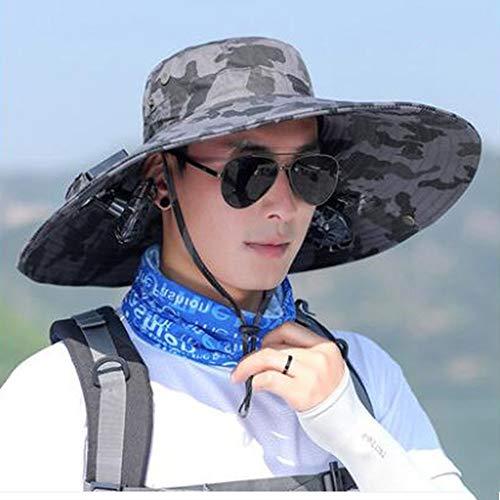 ZAIYI-Hat Sport Caps Doppel Solar Fan Cap Männlichen Sommer Outdoor Sonnenschutz Anti-UV Große Traufe Atmungs Schatten Fischerhut 4 Farben (Color : #4, Size : Head Circumference...