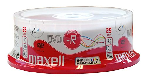 Maxell DVD-R Rohlinge (16x Speed, 4, 7GB, 120 Min, 25er Spindel)