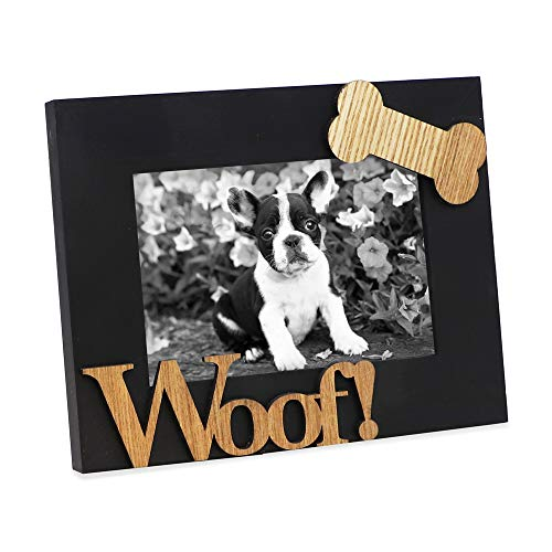 """Isaac Jacobs Black Wood Sentiments Dog """"Woof!"""" Picture Frame, 4x6 inch, Photo Gift for Pet Dog, Puppy, Display on Tabletop, Desk (Black, 4x6)"""