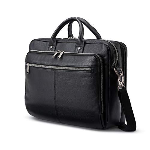Samsonite Classic Leather Toploader Briefcase, Black, One Size