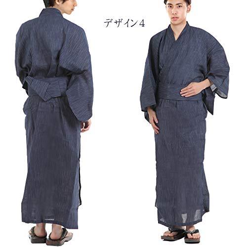 『[K sera sera] 浴衣 メンズ 3点セット ワンタッチ 帯 おしゃれ 涼しい 綿100%(下駄 巾着 付き)同色帯 ゆかた』の3枚目の画像