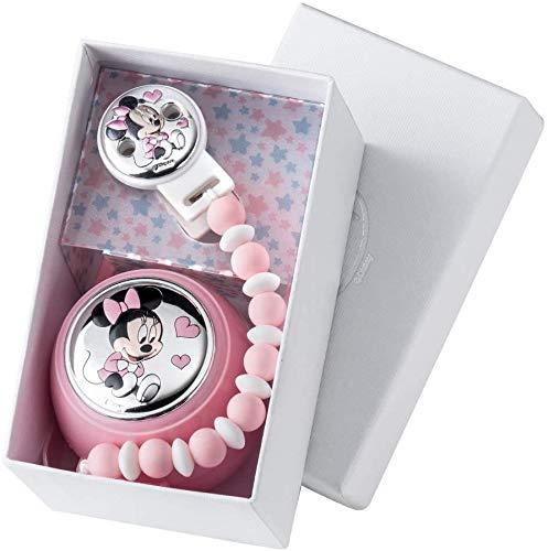 Portachupetes Personalizado Chupetero Disney plata bilaminada 1ª Ley 925 (Minnie Cadena Bolas)